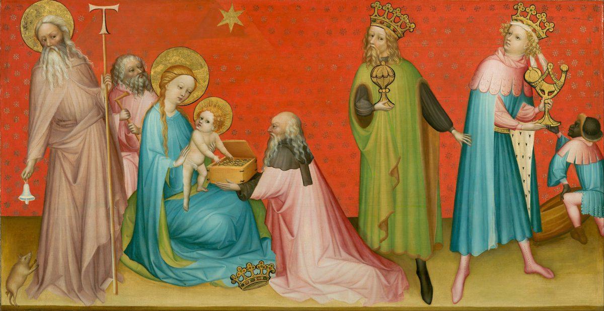Maitre Franco Flamand, vers 1400, L' Adoration des mages et St Abbot